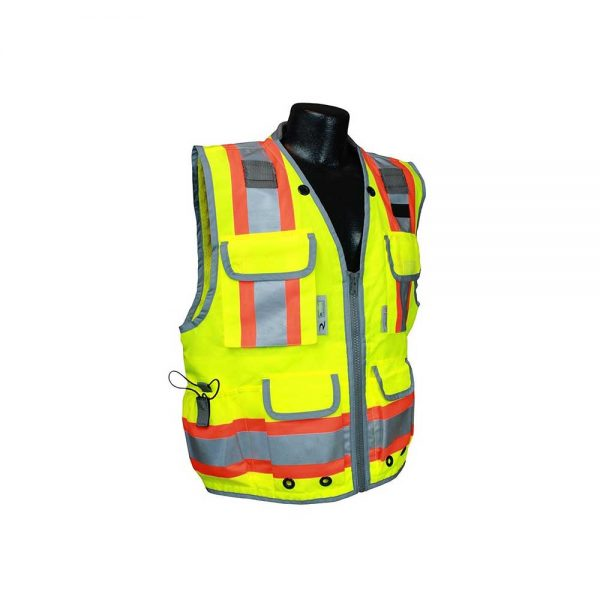 Radians (2X/Green Woven/Mesh) Type R Class 2 Heavy Woven Engineer High Visibility Vest